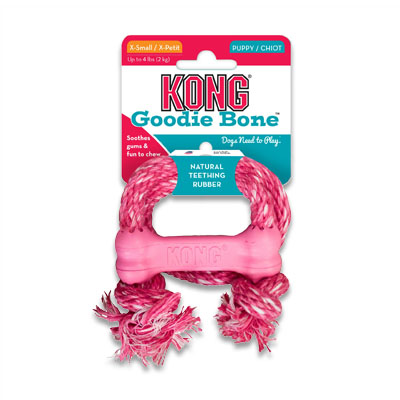 Kong Goodie Bone Puppy met Touw - X Small