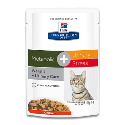 Hill's Feline Metabolic + Urinary Stress - 4 x 12 x 85 g Pouch | Petcure.nl