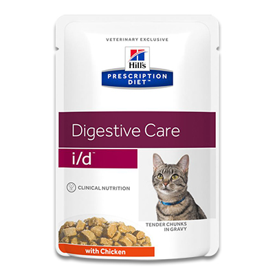Hill's Prescription Diet Feline i/d (Kip) - 4 x 12 x 85 g Pouch | Petcure.nl