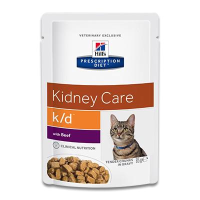 Hill's Feline k/d Kidney Care (Rind) - 12x 85g Pouch (MHD 03-19)