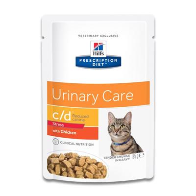 Hill's Feline c/d Urinary Stress Reduced Calorie - 4 x 12 x 85 g