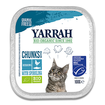 Yarrah Bio Chunks In Soße Fisch, Huhn mit Spirulina -Katze