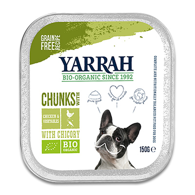Yarrah Bio Chunks In Soße mit Huhn, Gemüse und Chicorée (Hund)