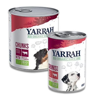 Yarrah Chunks In Soße Hund Hühn, Rind mit Brennnessel & Tomate (Hund)