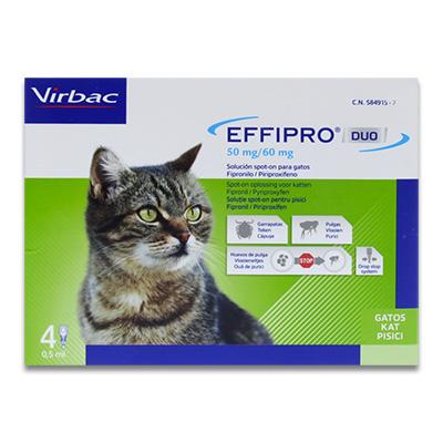 Effipro DUO spot-on Kat tot 6 kg - 4 pipetten   Petcure.nl