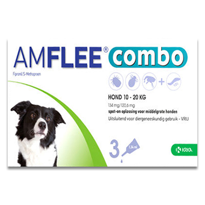 Amflee Combo Hond M (10 - 20 kg) - 3 Pipetten | Petcure.nl