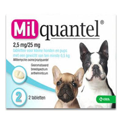Milquantel Kleine Hond/Pup 0.5 - 5 kg (2,5 mg/25 mg) - 2 Tabletten | Petcure.nl