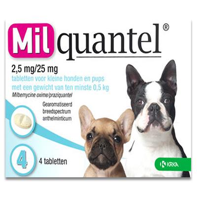 Milquantel Kleines Hund/Welp 0.5 - 5 kg (2,5 mg/25 mg) - 4 Tabletten