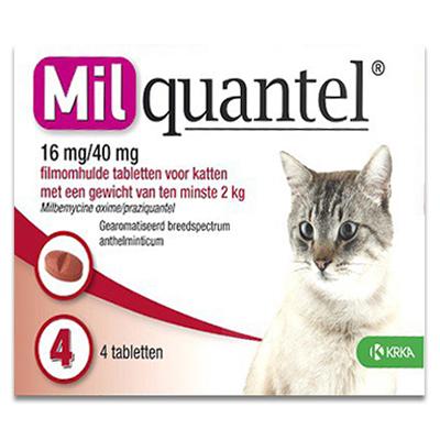 Milquantel Katze ab 2 kg (16 mg/40 mg) - 4 Tabletten