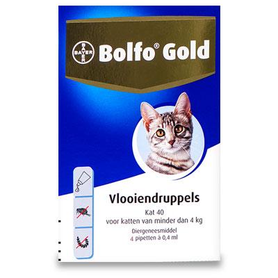Bolfo Gold 40 - Kat tot 4 kg - 4 Pipetten | Petcure.nl