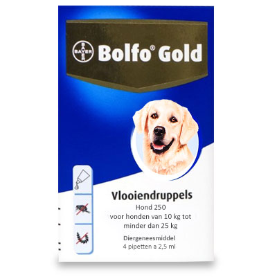 Bolfo Gold 250 - Hond (10-25kg) - 4 Pipetten | Petcure.nl