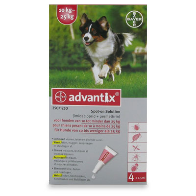 Advantix 250/1250 (Hund 10 - 25 kg) - 4 Pipetten (EU)