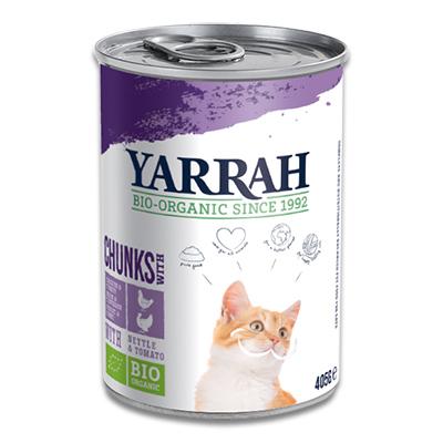Yarrah Bio Chunks In Soße Katze - 12 X 405 g (Truthahn/Huhn)