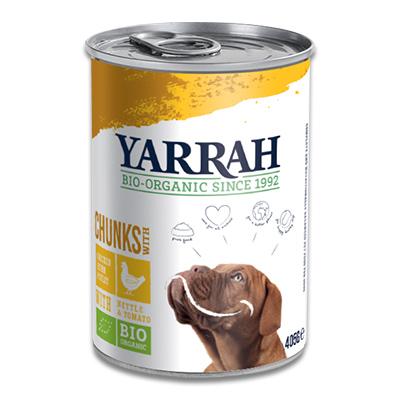 Yarrah Bio Chunks in Saus Hond - 12 X 405 g (Kip/Brandnetel) | Petcure.nl