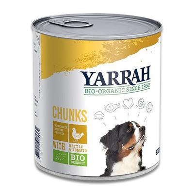 Yarrah Bio Chunks in Saus Hond -  6 x 820 g (Kip/Brandnetel) | Petcure.nl