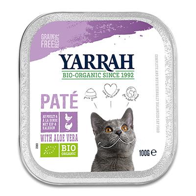 Yarrah Bio-Katzenfutter Pastete Trüthahn, Huhn mit Aloe Vera - 16 X 100 g