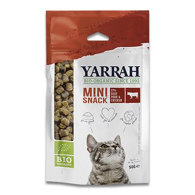 Yarrah Biologische Mini Snack Kat - 10 x 50 g   Petcure.nl