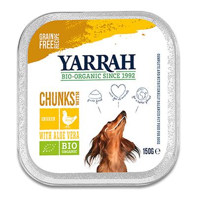 Yarrah Bio Chunks in Saus Hond - 12 x 150 g (Kip/Aloë Vera) | Petcure.nl